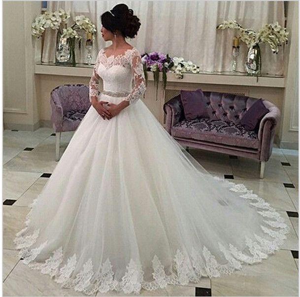 Vintage Langarm-spitze Hochzeitskleid 2016 Vestido De Noiva A Linie Appliques Braut Kleid Perlen Gürtel Robe De Mariage