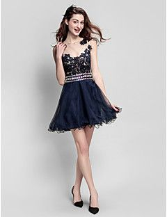 TS+Couture+Prom+Company+Party+Dress+-+See+Through+A-line+Jewel+Short+/+Mini+Tulle+with+Beading+Lace+–+USD+$+255.00