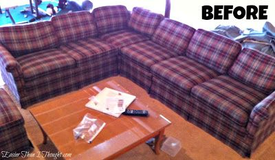 Easier Than I Thought sectional slipcover before