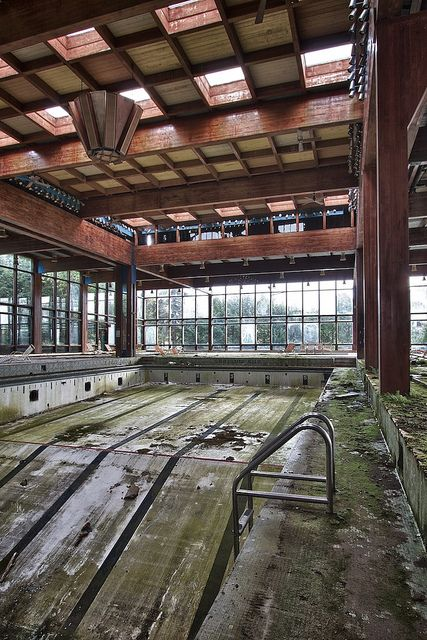 Abandoned swimming pool. Grossinger's Resort, The Catskills, New York. What would yo do with this space?