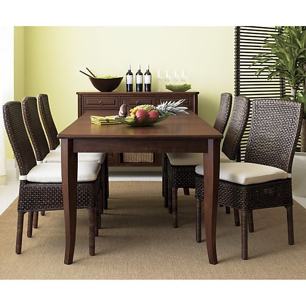 Crate And Barrel Dining Sets: Cabria Honey Brown Extension Dining Table