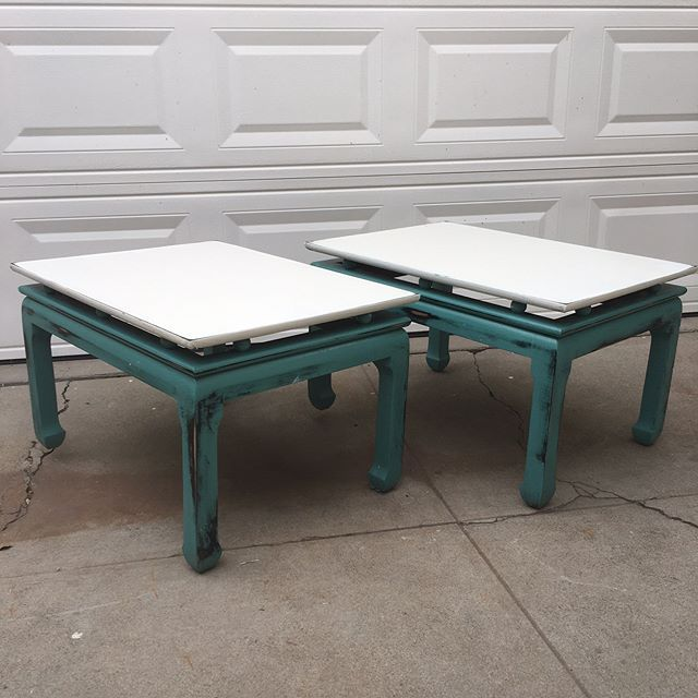 """Gorgeous teal and white shabby chic side tables $120. Dimensions: W30 x H19 x D22"""" Local San Diego Affordable Furniture. Email mondaymarqt@gmail.com To Purchase. Curbside delivery is $20 anywhere in the local SD area. . . #Sandiego #furniture #furnituredesign #sandiegofurniture #sandiegoliving #northpark #southpark #ilovesd #lajolla #delmar #dtsd #homedecor #interiordesign #decor #upcycle #refurbish #vintagefurniture #antique #boho #airbnb #beachlife #carmelvalley #momdaymart #lajollalocals…"""