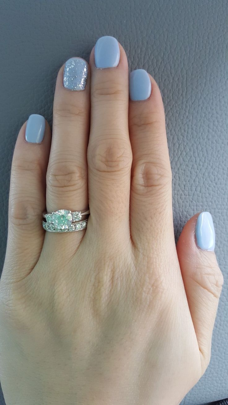 Light Blue Nails With Clear Silver Glitter Accent Nail Blue And Silver Nails Blue Glitter