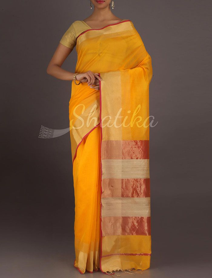 Shilpa Vibrant Yellow Gold Border Stripe Pallu #MaheshwariSilkCottonSaree