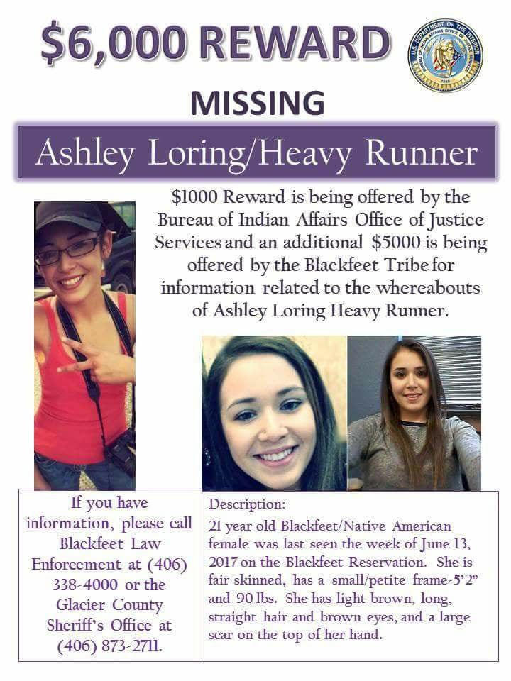 Find Missing Ashley HeavyRunner Loring!