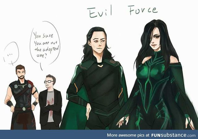 Green clothes siblings! Making people knee siblings! --- Haha, is Thor sure he's not the adopted one?