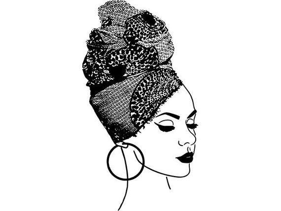 Black Woman Turban African American Lady Nubian Queen Diva Etsy In 2021 Black Girl Art African Black Women Art