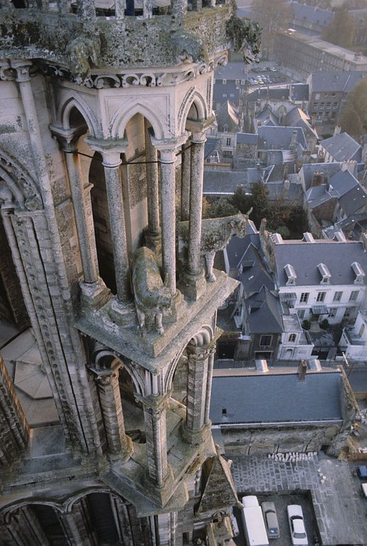 Gothic Notre Dame Cathedral Laon France. A miraculous myth is attached to the oxen depicted here who carted the stone up the hill to build it.