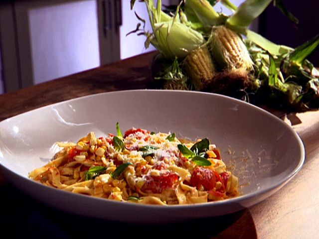mooney, this it it I think....Tagliatelle with Corn and Cherry Tomatoes from FoodNetwork.com