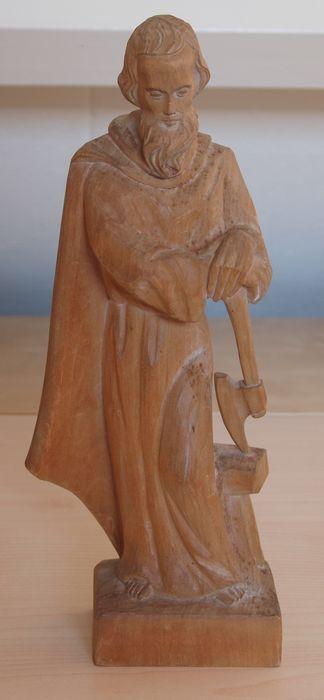 Obergammerauer Bergmann - blank houten sculptuur van St. Jozef - midden 20e eeuw