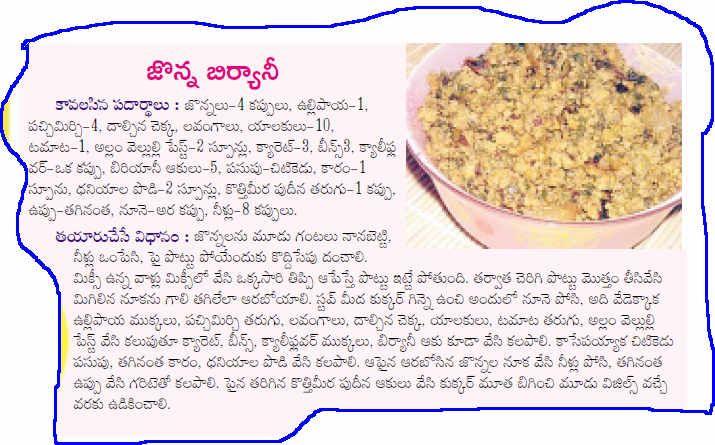 All Telangana Recipes: SANKRANTHI FESTIVAL SPECIAL ITEM - GRAINS BIRYANI ...