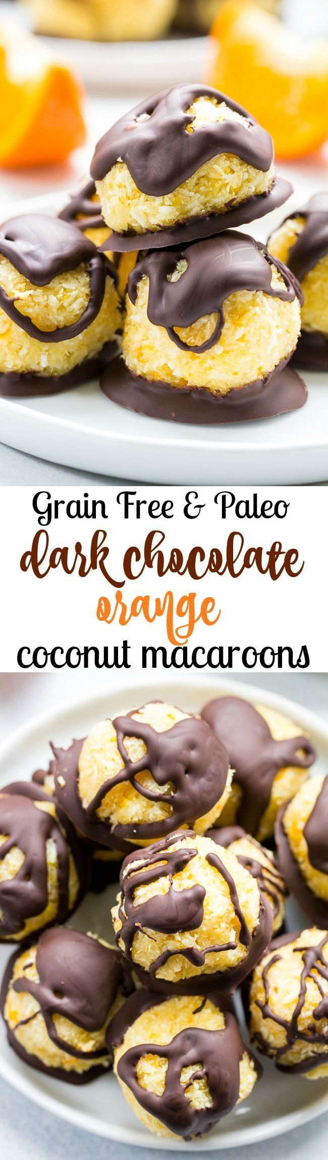 Chewy and sweet orange coconut macaroons are dipped in dark chocolate for a healthy yet decadent tasting dessert! Easy and fun to make, these delicious macaroons are gluten free, dairy free and Paleo.