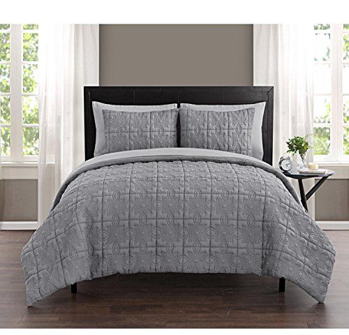 7 Piece Grey Solid Embossed Geometric Pattern Comforter Queen Set Beautiful Simple HighClass Square Shape Textured Design Bedding Abstract Contemporary Modern Style Vibrant Vivid Color Unisex >>> ON SALE Check it Out