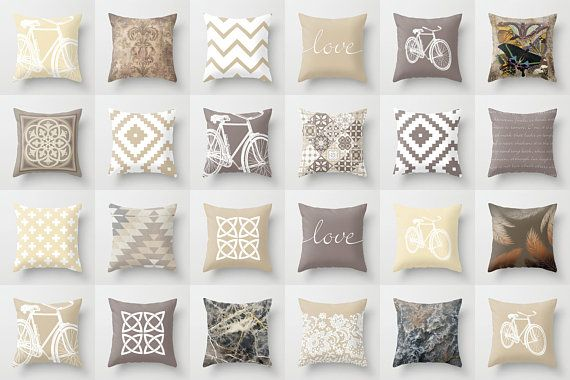 beige and taupe throw pillow mix and