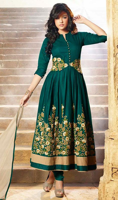 Designer Embroidered Cotton Anarkali Suit Designer Dark bottle green shade blended cotton Anarkali suit flaunts elegance through its embroidered foliage patterns on the empire line and lower part of the kameez. Collar, buttons and hemline patch add to the stylishness of the attire.  #WeddingChuridarSuits #BridalChuridarSuit