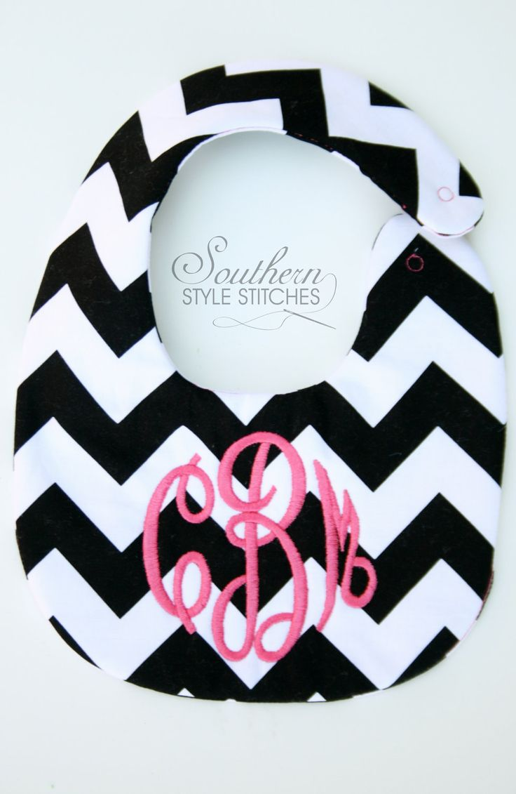 Personalized bib, Monogrammed bib, Baby shower gift, Seersucker bib, You Customize. $15.00, via Etsy.