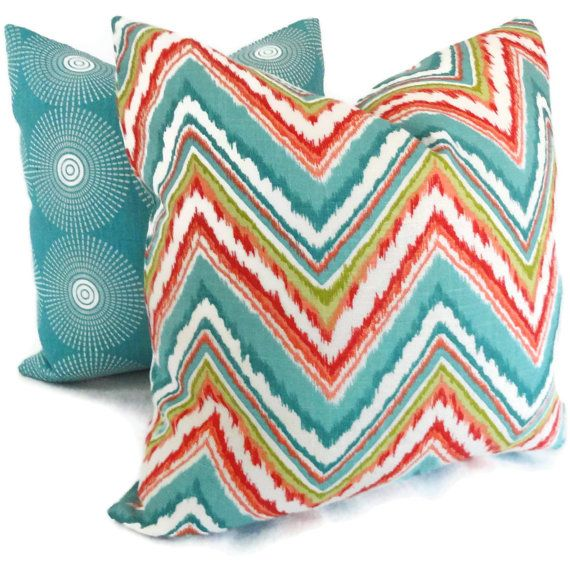 Turquoise and Orange Ikat Chevron Decorative Pillow Cover 12x18, Lumbar Pillow, Throw Pillow ...