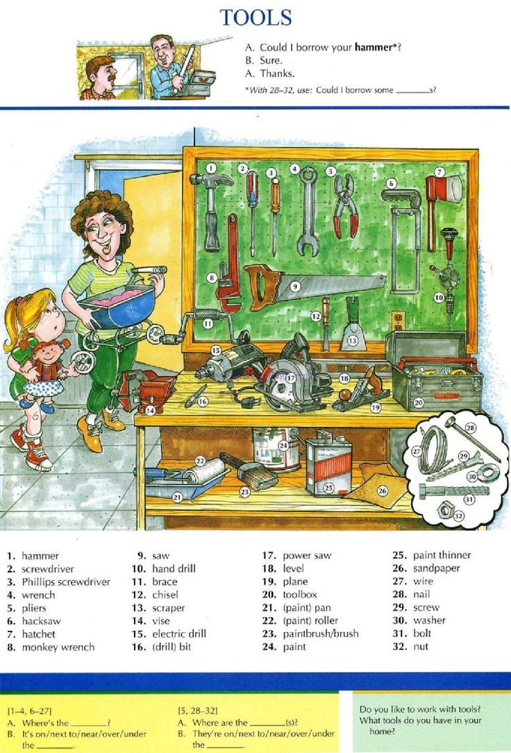 24 - TOOLS - Pictures dictionary - English Study, explanations, free exercises, speaking, listening, grammar lessons, reading, writing, vocabulary, dictionary and teaching materials