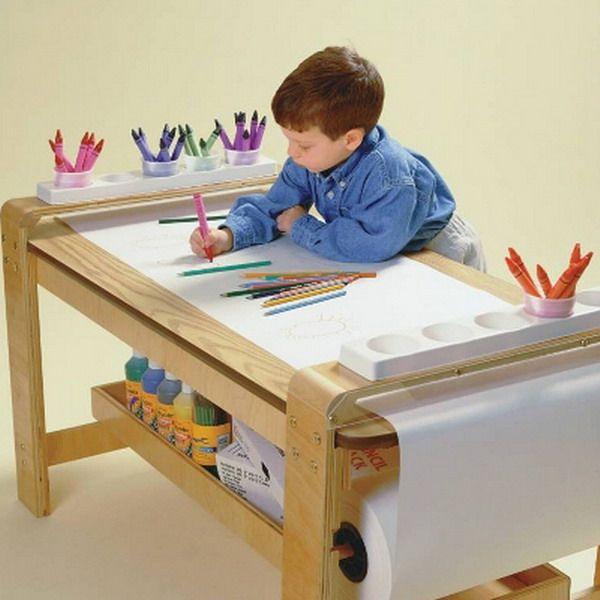 High Quality New Big Wooden Kids Art Table Birch Wood Paper Roll Holder Childrens Artist