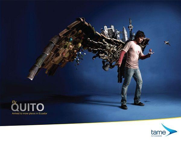 分享Tame航空宣传海报设计系列。tame-厄瓜多尔国营航空公司,主营国内航线,隶属厄瓜多尔军方。除了tame,国内航线还有ICARO、AEROGAL、CLUB VIP等私营航空公司。而厄瓜多尔全国只有两个国际空港,即SIMON BOLIVAR国际机场和基多苏克雷元帅国际机场。  如果不是在连续两届世界杯赛场作为南美新贵大放异彩,厄瓜多尔或许对于我们来说只是一个鸟不拉屎的国家名字。对于这家航空公司,网络上能够找到的信息就更少。虽然如此,下面这个系列广告却相当迷人,它们并不是模仿任何一种流派的基础上创造的。每张作品都是用一个人做主题,每个人都有不同的表情和动作,后面用各种元素做衬托,并摆出一对翅膀的形状,整个系列酣畅淋漓地诠释了飞翔的含义:心之旅行,梦想之旅行。