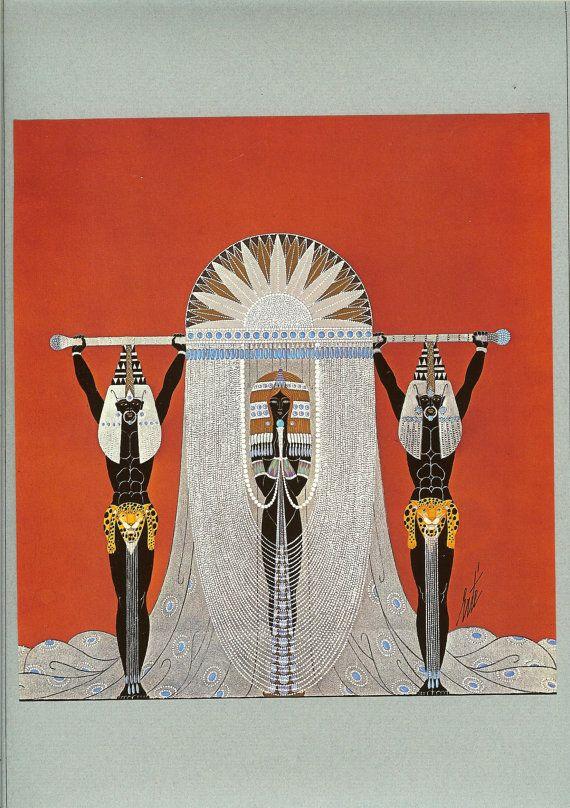 1975 Limited Edition Vintage Erte Print Of 1927 Queen of Sheba Theatre Costume Art  Deco Dress Design.