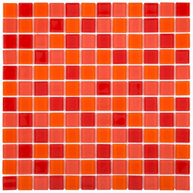 Malla Decorativa Cherry con mezcla de cristales en tonalidades rojo y naranja. Medida (cm) 30 x 30 Grosor (cm) 0.4