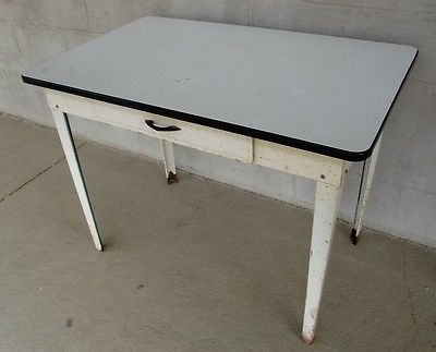 Vintage Enamel Top Farm Table One Drawer All Metal