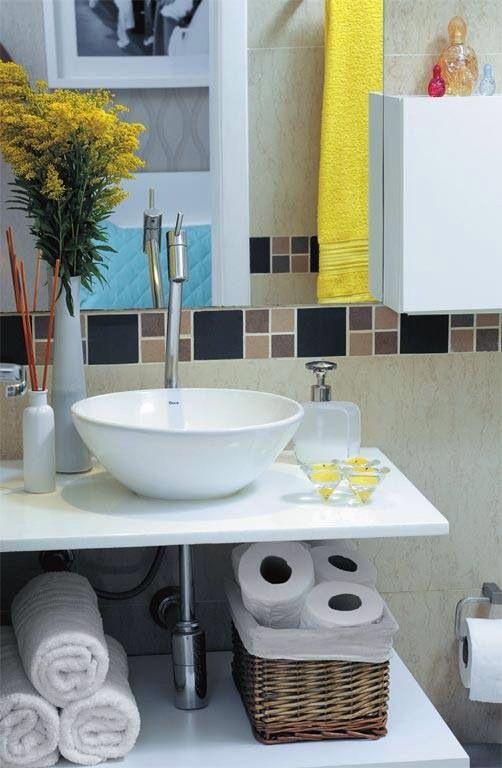 Mais de 1000 ideias sobre Pia Para Banheiro Pequeno no Pinterest  Pias Para  -> Cuba De Banheiro Amarelo
