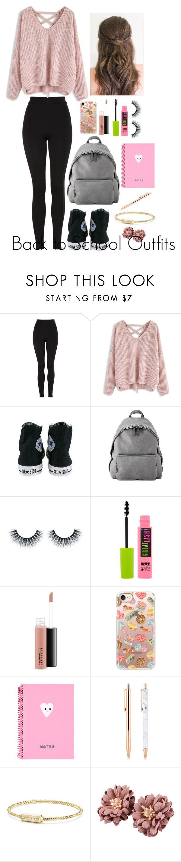 """""""Back to School Outfits #11"""" by gussied-up on Polyvore featuring Topshop, Chicwish, Converse, STELLA McCARTNEY, Maybelline, MAC Cosmetics, Casetify and David Yurman"""