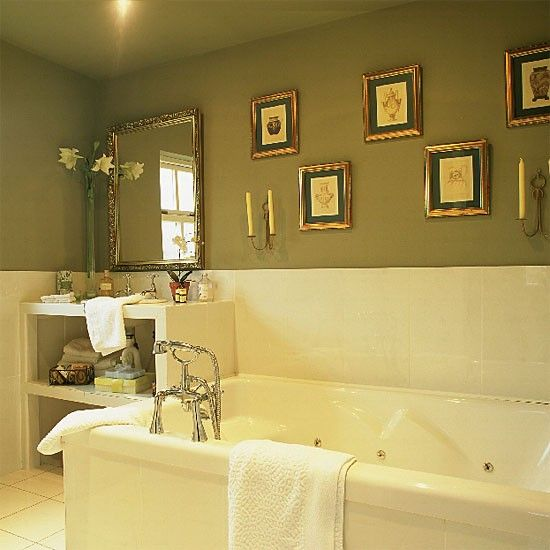 Green and cream bathroom ideas online information for Cream bathroom accessories