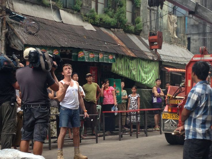 Downtown, Yangon - Top Gear Special Burma - Richard Hammond checking for low wires