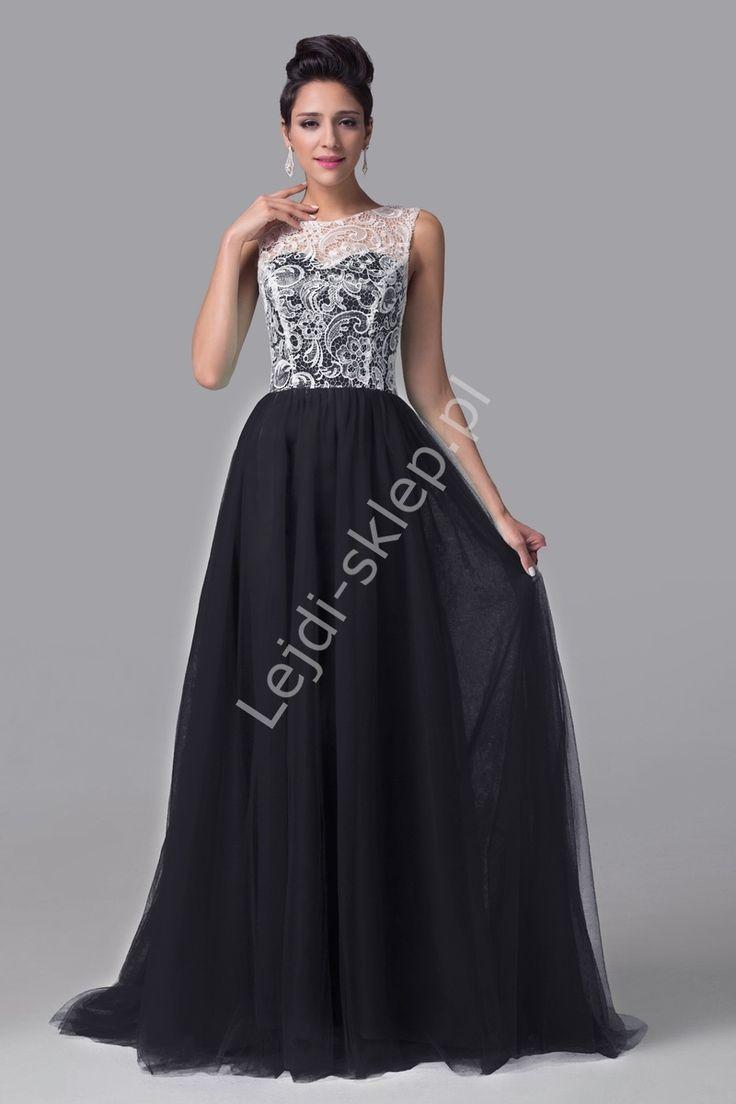 Sukienka na studniówkę, karnawał | czarna sukienka z gipiurą