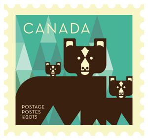 'Bears' Dale Nigel Goble stamp design for Canada Post. Via Canadian Design Resource.