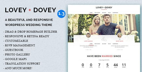 Lovey Dovey - Responsive WordPress Wedding Theme