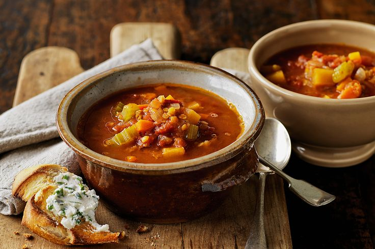 Lentil Soup with Goats cheese toast