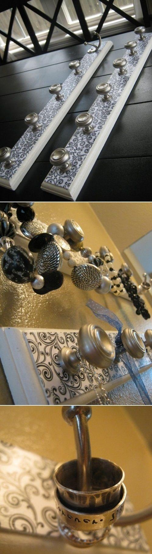 DIY jewelry wall organizer