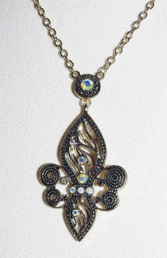 Joan Rivers Necklace Fleur de Lis  with Crystals  S1454
