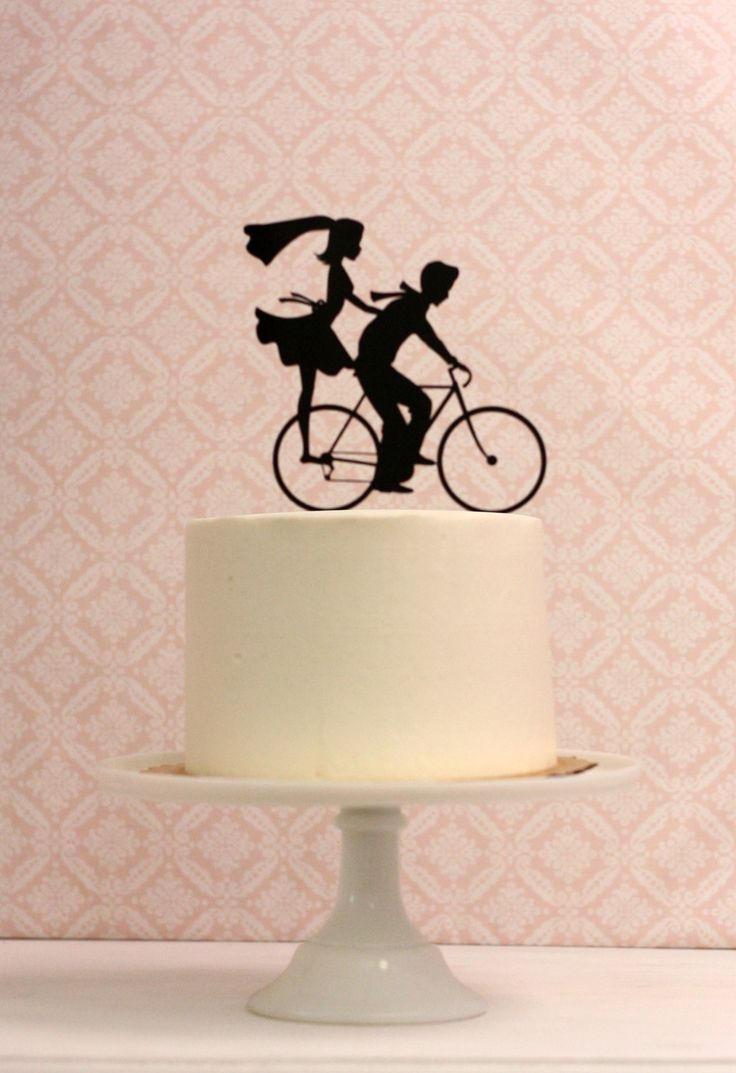 Wedding Cake Topper With Bride And Groom Silhouettes On