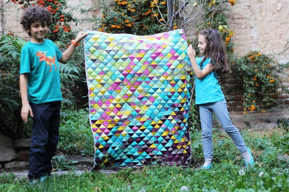 Half square triangle quilt tutorial by Katarina Roccella featuring Art Gallery fabrics