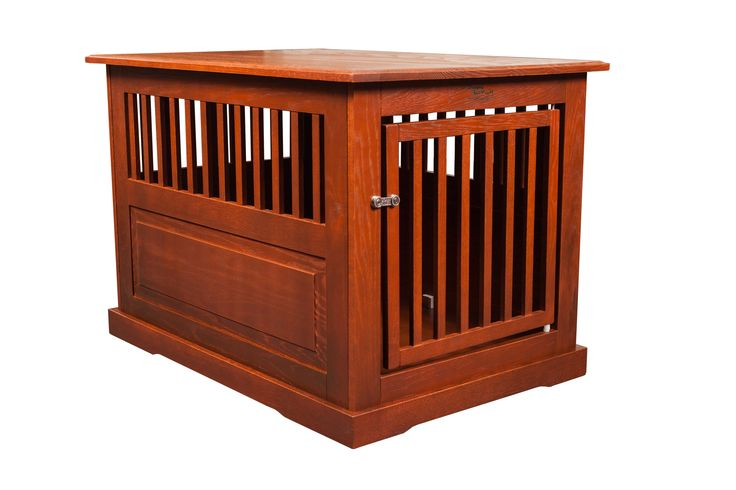 Amish made large oak end table dog crate pet beds the o for Amish wooden dog crates