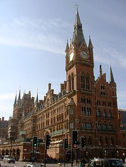 St. Pancras railway station and Midland Hotel in London, opened in 1868, is an example of the Gothic Revival style of architecture with Ruskinian influences. The station eclectically combined elements of Gothic architecture and other styles with materials and scale made possible by the Industrial Revolution.