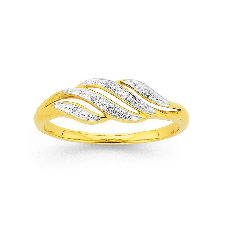 9ct Gold Diamond Multi Wave Dress Ring