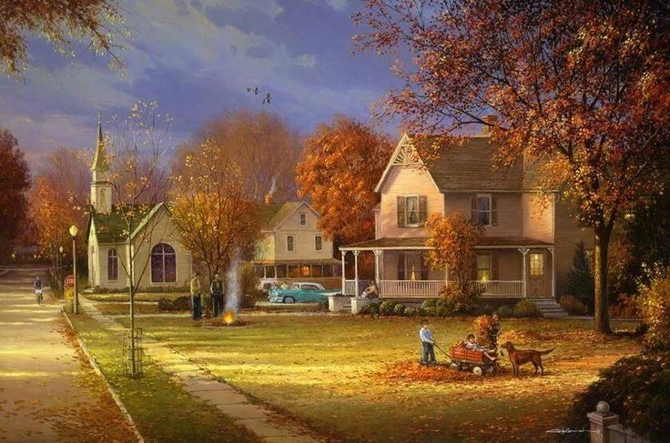 Beautiful fall scene Autumn painting, Autumn scenery