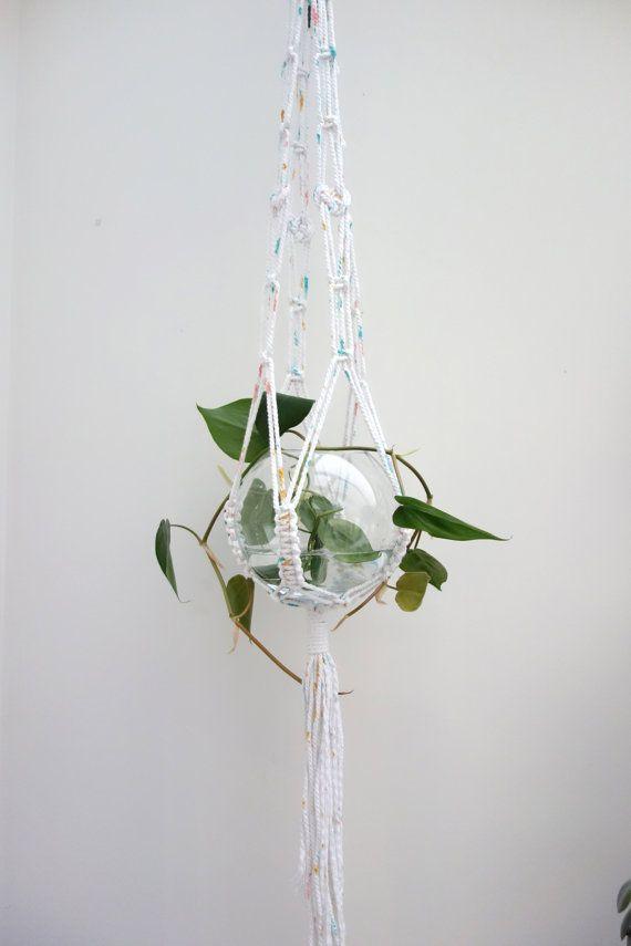 Modern macrame plant hanger / painted rope hanger by Lepetitmoose