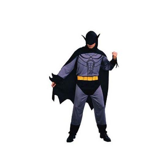 Vleermuis/ batman kostuum voor heren. Dit kostuum bestaat uit een jumpsuit, riem, cape met capuchon en masker. Verkrijgbaar in 1 maar welke valt als ongeveer M/L. Carnavalskleding 2015 #carnaval