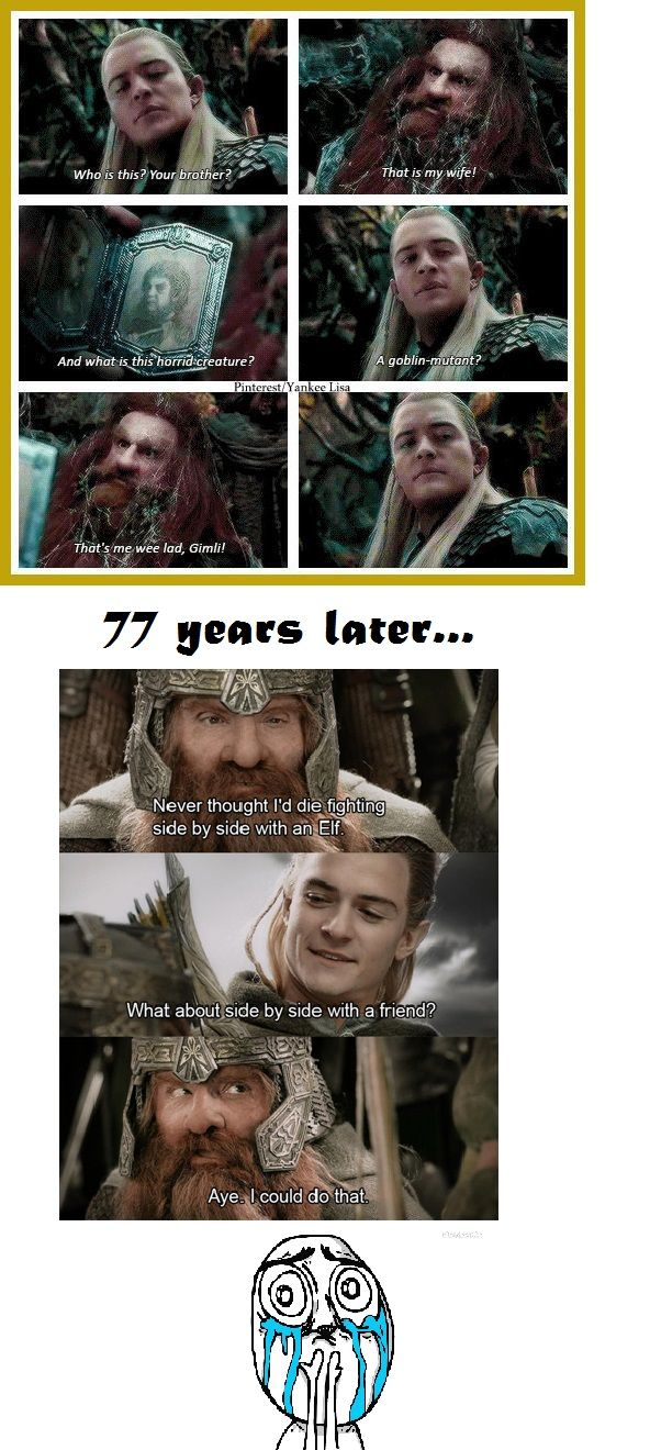 The feels.... Legolas.Gimli.Gloin.Lord of the Rings.The Hobbit.Desolation of Smaug.Mirkwood.Thranduil.Middle Earth