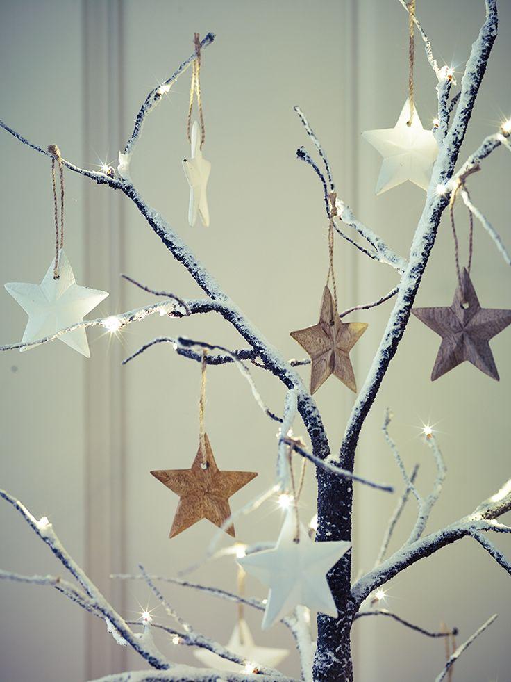 Set of Six Wooden Hanging Stars     Cox & Cox