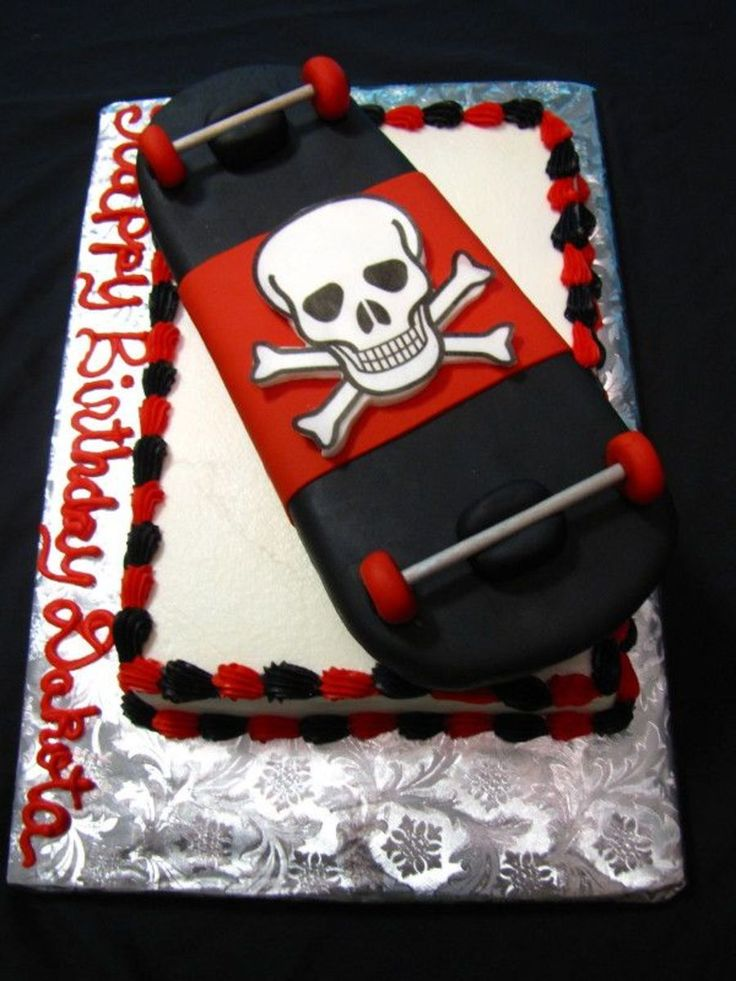 Skateboard constructed ou of styrofoam, covered in fondant.  Cake iced...
