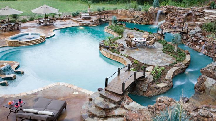 Some day I'm going to have a pool this sexy in my backyard! WOW! Part of this pool is even a LAZY RIVER! #backyard #pool