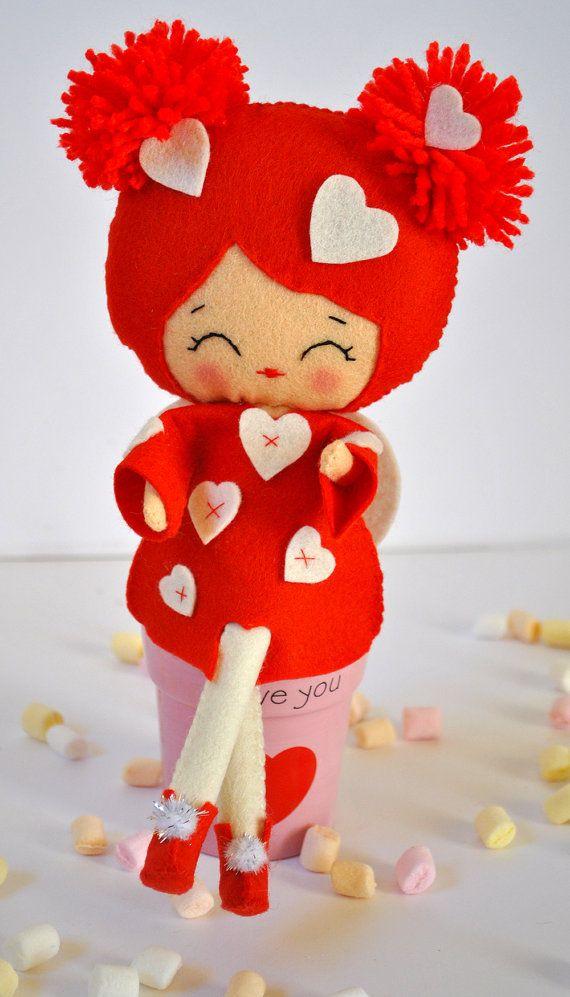 Valentine angel doll Saint Valentine gift Keepsake Valentine gift for her Valentine decor Wedding decor Love Couple Baby gift 100% wool felt